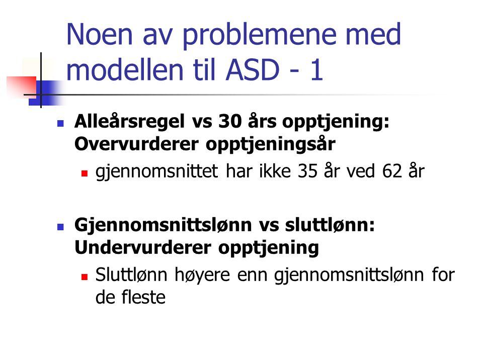 Noen av problemene med modellen til ASD - 1 Alleårsregel vs 30 års opptjening: Overvurderer opptjeningsår gjennomsnittet har ikke 35 år ved 62 år Gjen