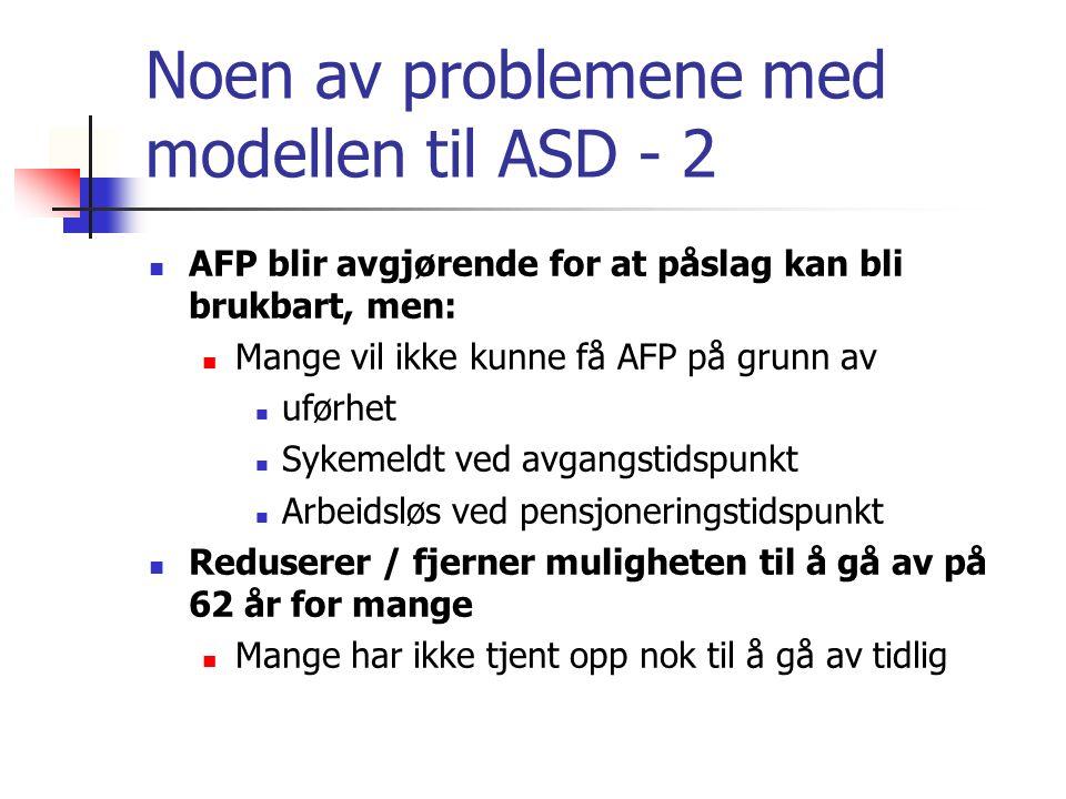 Noen av problemene med modellen til ASD - 2 AFP blir avgjørende for at påslag kan bli brukbart, men: Mange vil ikke kunne få AFP på grunn av uførhet S