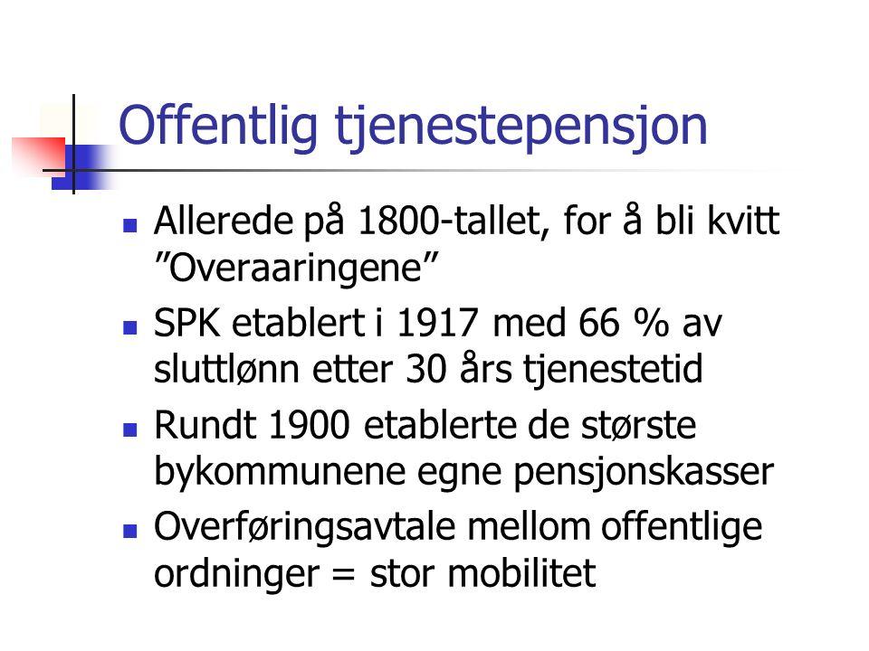 """Offentlig tjenestepensjon Allerede på 1800-tallet, for å bli kvitt """"Overaaringene"""" SPK etablert i 1917 med 66 % av sluttlønn etter 30 års tjenestetid"""