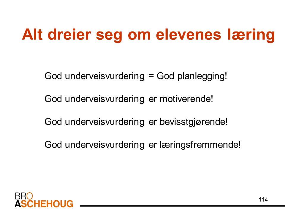 114 Alt dreier seg om elevenes læring God underveisvurdering = God planlegging.
