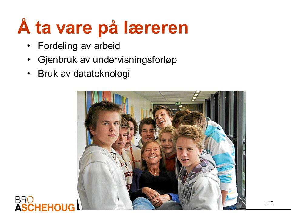 115 Å ta vare på læreren Fordeling av arbeid Gjenbruk av undervisningsforløp Bruk av datateknologi