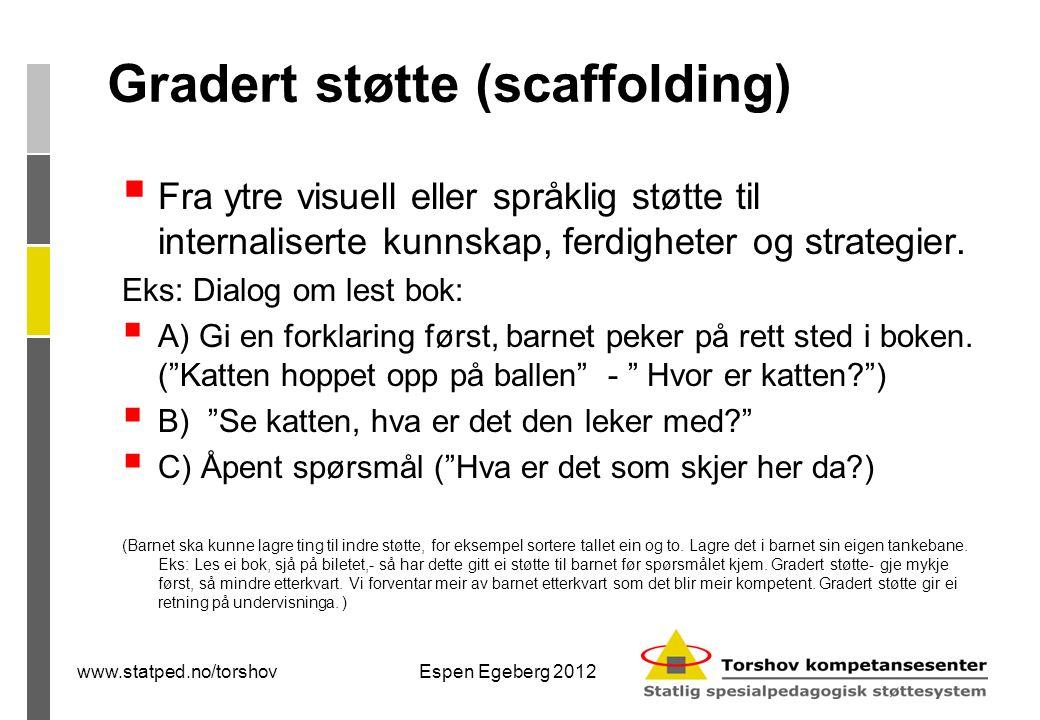 Gradert støtte (scaffolding)  Fra ytre visuell eller språklig støtte til internaliserte kunnskap, ferdigheter og strategier.
