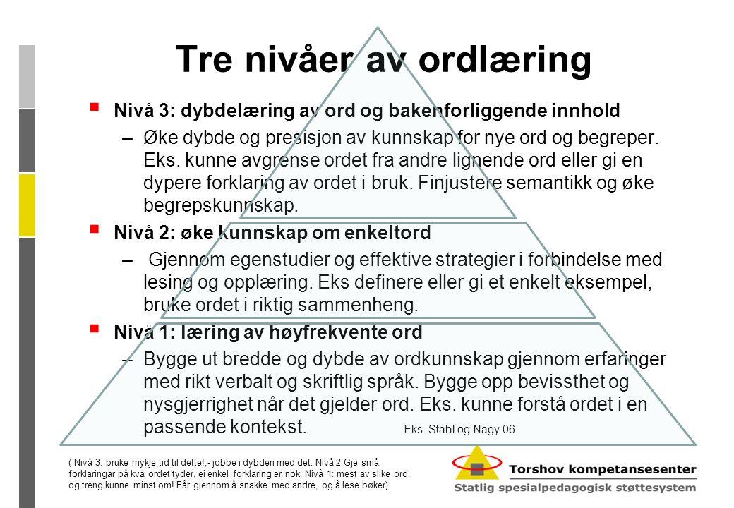 Tre nivåer av ordlæring  Nivå 3: dybdelæring av ord og bakenforliggende innhold –Øke dybde og presisjon av kunnskap for nye ord og begreper.