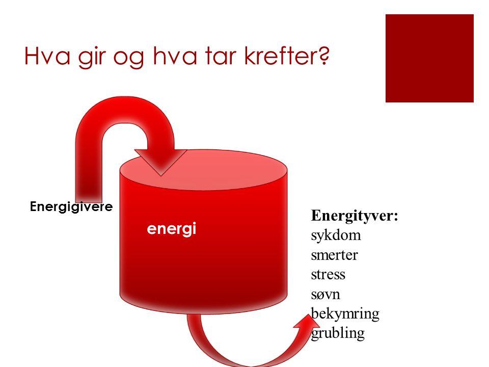 Hva gir og hva tar krefter? energi Energityver: sykdom smerter stress søvn bekymring grubling Energigivere
