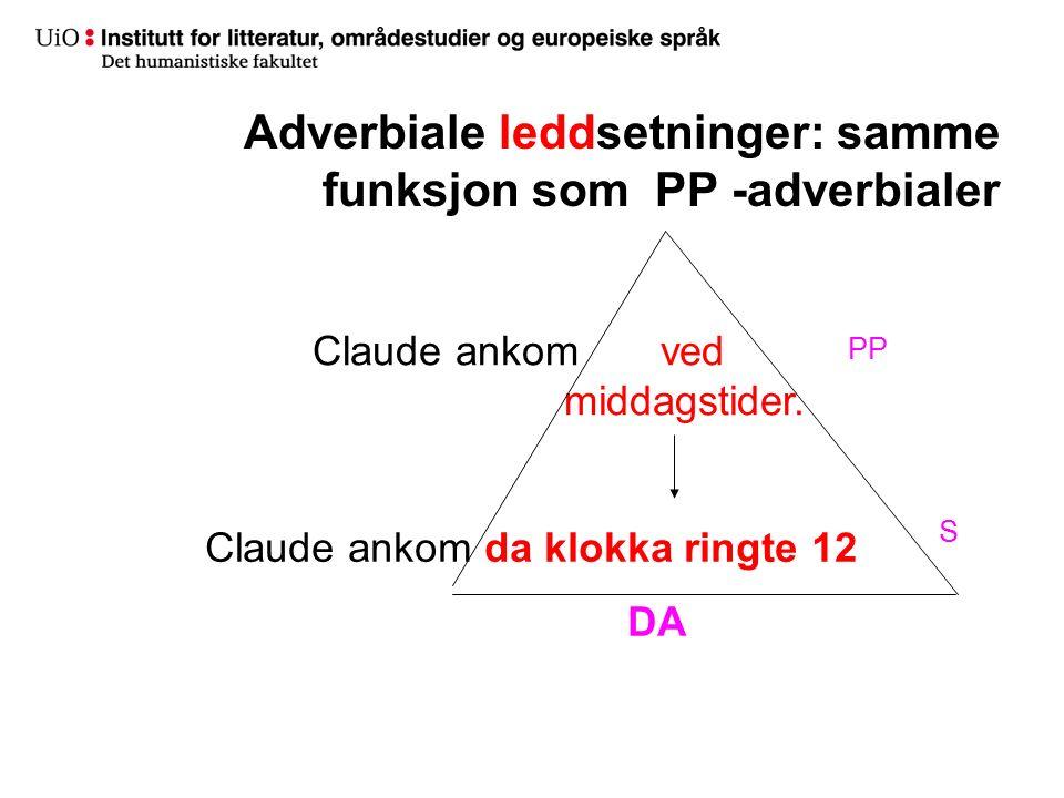 Adverbiale leddsetninger: samme funksjon som PP -adverbialer Claude ankom ved middagstider. Claude ankom da klokka ringte 12 DA PP S