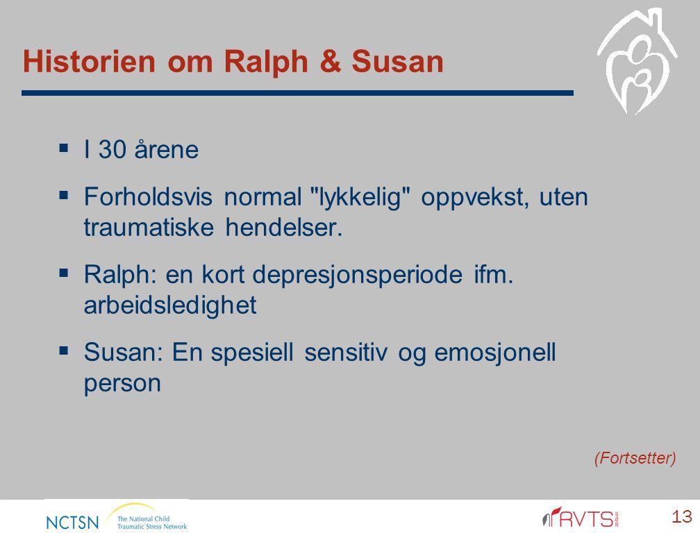 Historien om Ralph & Susan  I 30 årene  Forholdsvis normal lykkelig oppvekst, uten traumatiske hendelser.