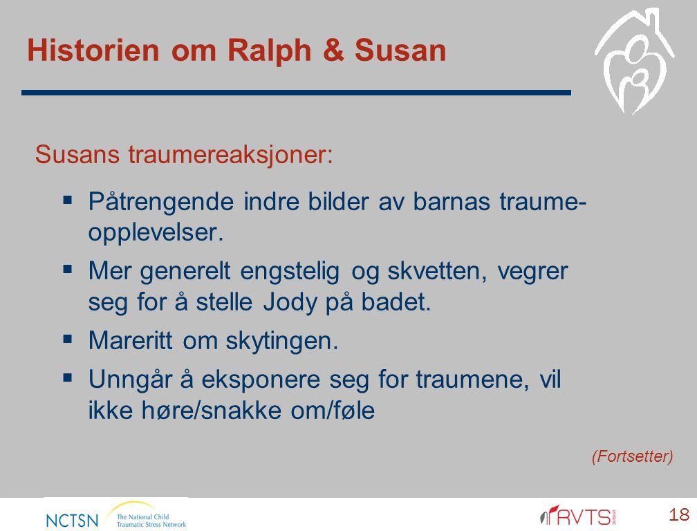 Historien om Ralph & Susan Susans traumereaksjoner:  Påtrengende indre bilder av barnas traume- opplevelser.