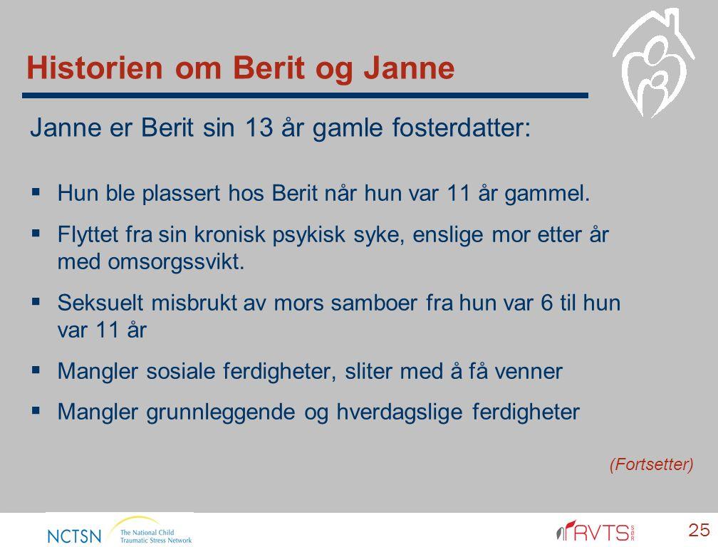 Historien om Berit og Janne  Hun ble plassert hos Berit når hun var 11 år gammel.  Flyttet fra sin kronisk psykisk syke, enslige mor etter år med om