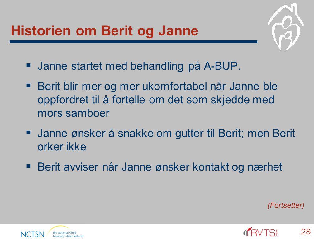 Historien om Berit og Janne  Janne startet med behandling på A-BUP.  Berit blir mer og mer ukomfortabel når Janne ble oppfordret til å fortelle om d