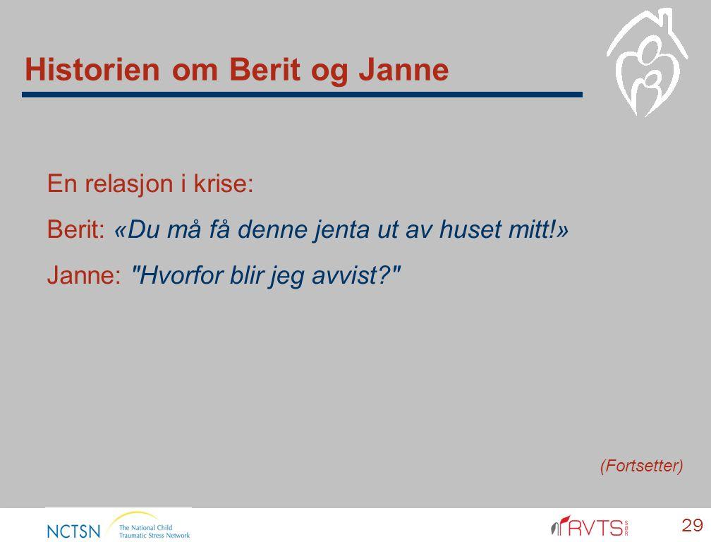 En relasjon i krise: Berit: «Du må få denne jenta ut av huset mitt!» Janne: Hvorfor blir jeg avvist 29 (Fortsetter) Historien om Berit og Janne