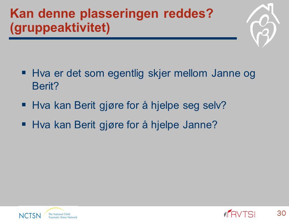 Kan denne plasseringen reddes? (gruppeaktivitet)  Hva er det som egentlig skjer mellom Janne og Berit?  Hva kan Berit gjøre for å hjelpe seg selv? 