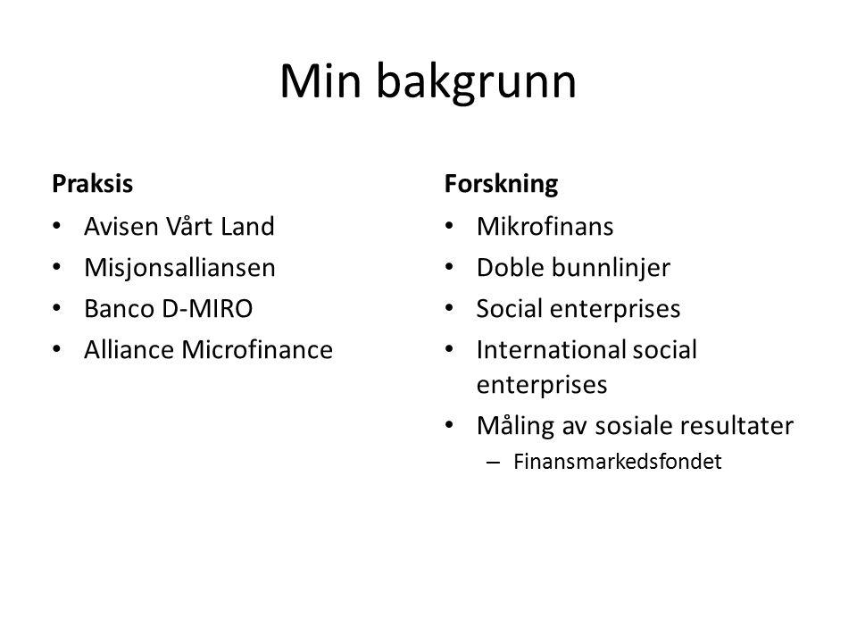 Min bakgrunn Praksis Avisen Vårt Land Misjonsalliansen Banco D-MIRO Alliance Microfinance Forskning Mikrofinans Doble bunnlinjer Social enterprises International social enterprises Måling av sosiale resultater – Finansmarkedsfondet
