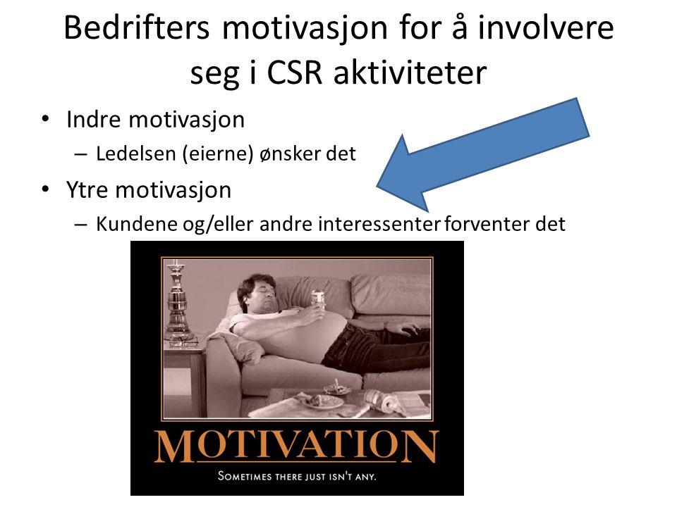 Bedrifters motivasjon for å involvere seg i CSR aktiviteter Indre motivasjon – Ledelsen (eierne) ønsker det Ytre motivasjon – Kundene og/eller andre interessenter forventer det