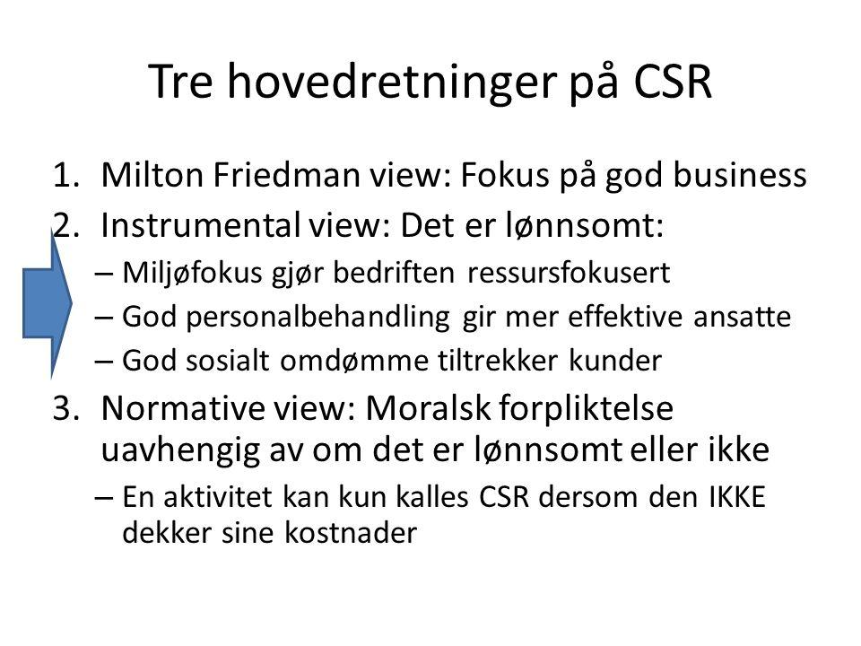Tre hovedretninger på CSR 1.Milton Friedman view: Fokus på god business 2.Instrumental view: Det er lønnsomt: – Miljøfokus gjør bedriften ressursfokusert – God personalbehandling gir mer effektive ansatte – God sosialt omdømme tiltrekker kunder 3.Normative view: Moralsk forpliktelse uavhengig av om det er lønnsomt eller ikke – En aktivitet kan kun kalles CSR dersom den IKKE dekker sine kostnader