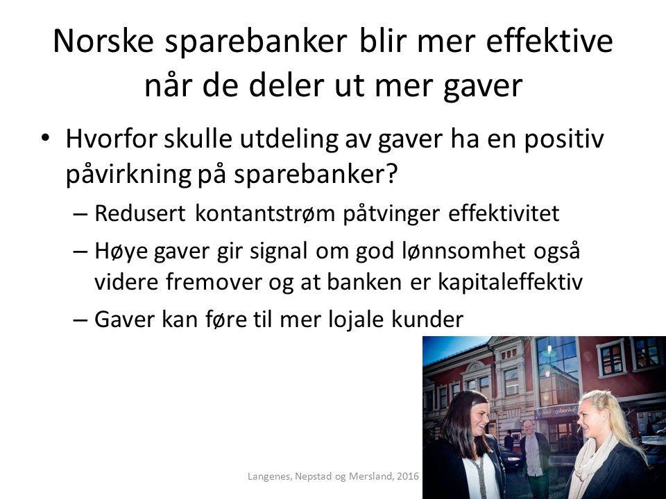 Norske sparebanker blir mer effektive når de deler ut mer gaver Hvorfor skulle utdeling av gaver ha en positiv påvirkning på sparebanker.
