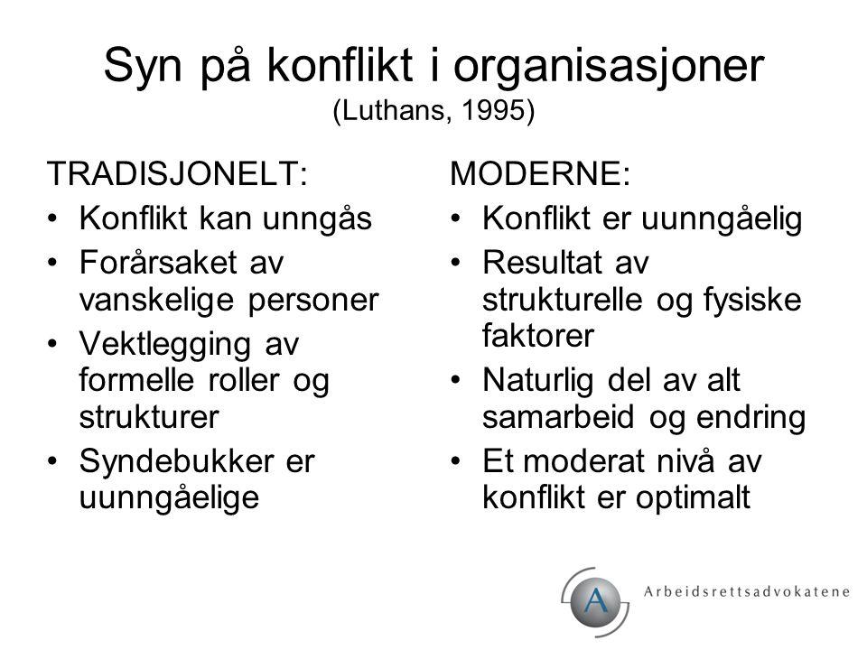 Syn på konflikt i organisasjoner (Luthans, 1995) TRADISJONELT: Konflikt kan unngås Forårsaket av vanskelige personer Vektlegging av formelle roller og