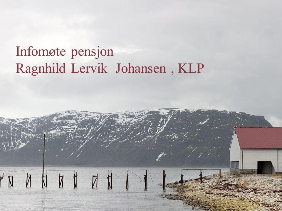 Beregning av alderspensjon PENSJON = Pensjonsgrunnlag x 66% x gjennomsnittlig deltid x medlemstid /30