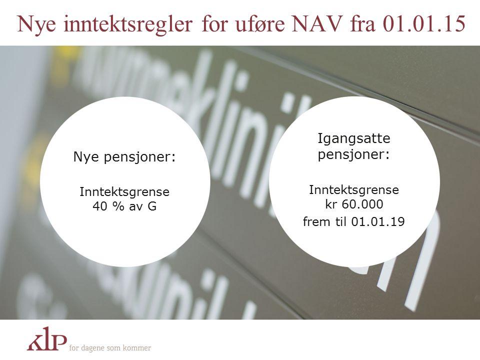 Nye inntektsregler for uføre NAV fra 01.01.15 Nye pensjoner: Inntektsgrense 40 % av G Igangsatte pensjoner: Inntektsgrense kr 60.000 frem til 01.01.19