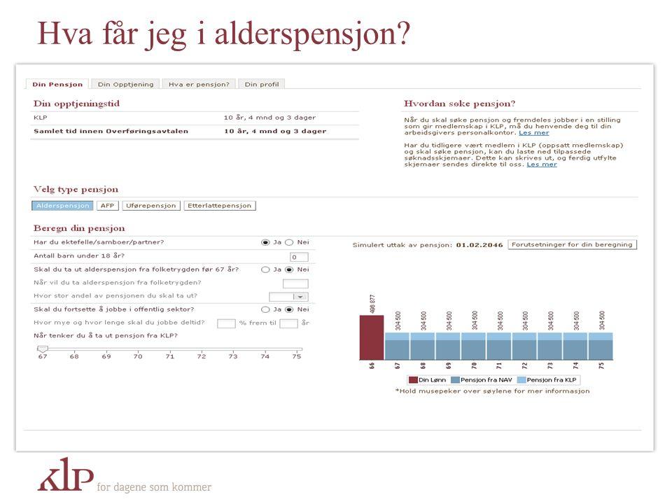 Det Norske Pensjonssystemet Folketrygd Tjenestepensjon Individuell sparing 66% Lønn Tjenestepensjon og folketrygd utgjør 66% ved full opptjening (30 år i 100% stilling).