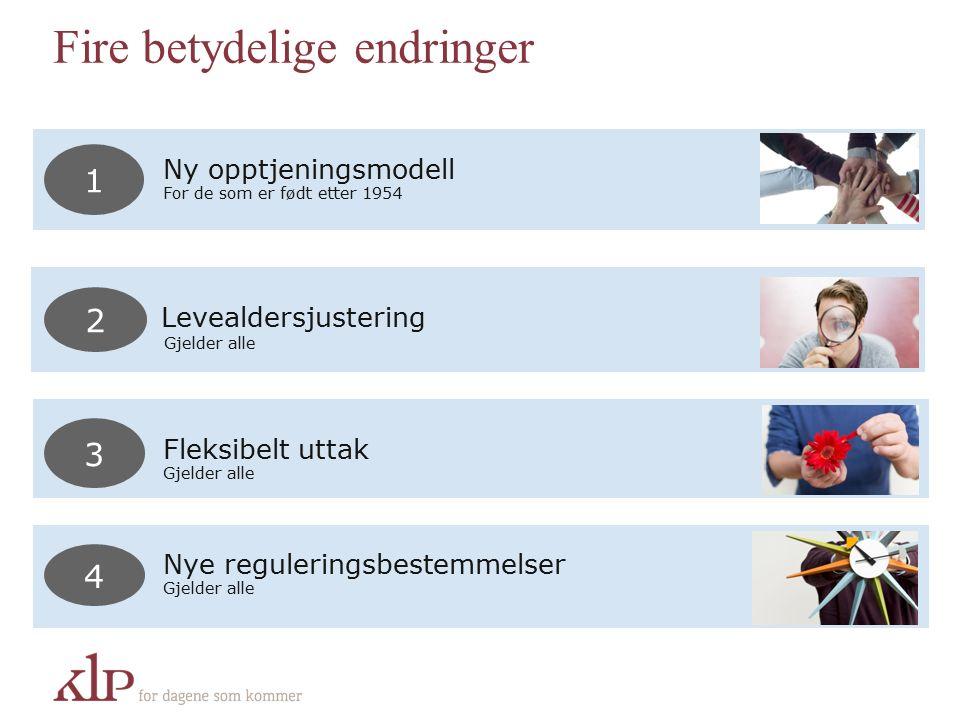 Fire betydelige endringer Nye reguleringsbestemmelser Gjelder alle 4 Fleksibelt uttak Gjelder alle 3 Ny opptjeningsmodell For de som er født etter 1954 1 Levealdersjustering Gjelder alle 2