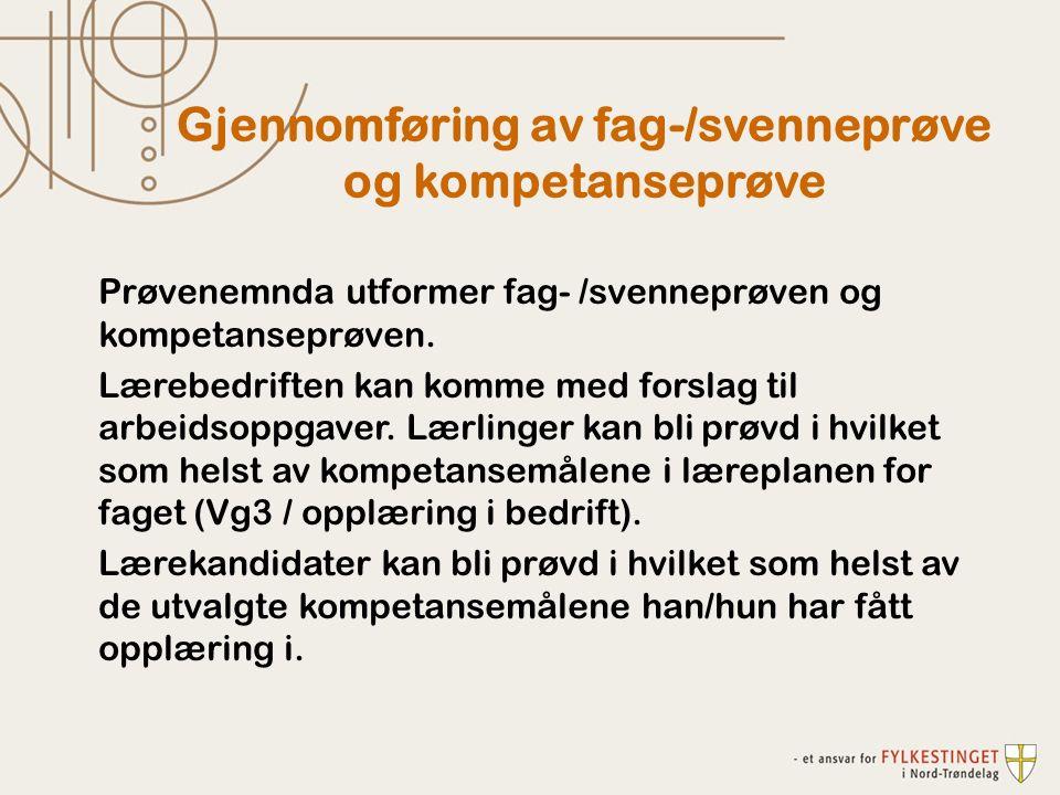 Prøvenemnda utformer fag- /svenneprøven og kompetanseprøven.