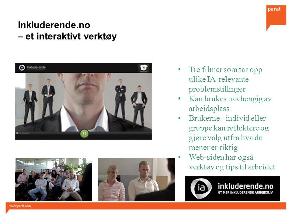 Inkluderende.no – et interaktivt verktøy Tre filmer som tar opp ulike IA-relevante problemstillinger Kan brukes uavhengig av arbeidsplass Brukerne - i