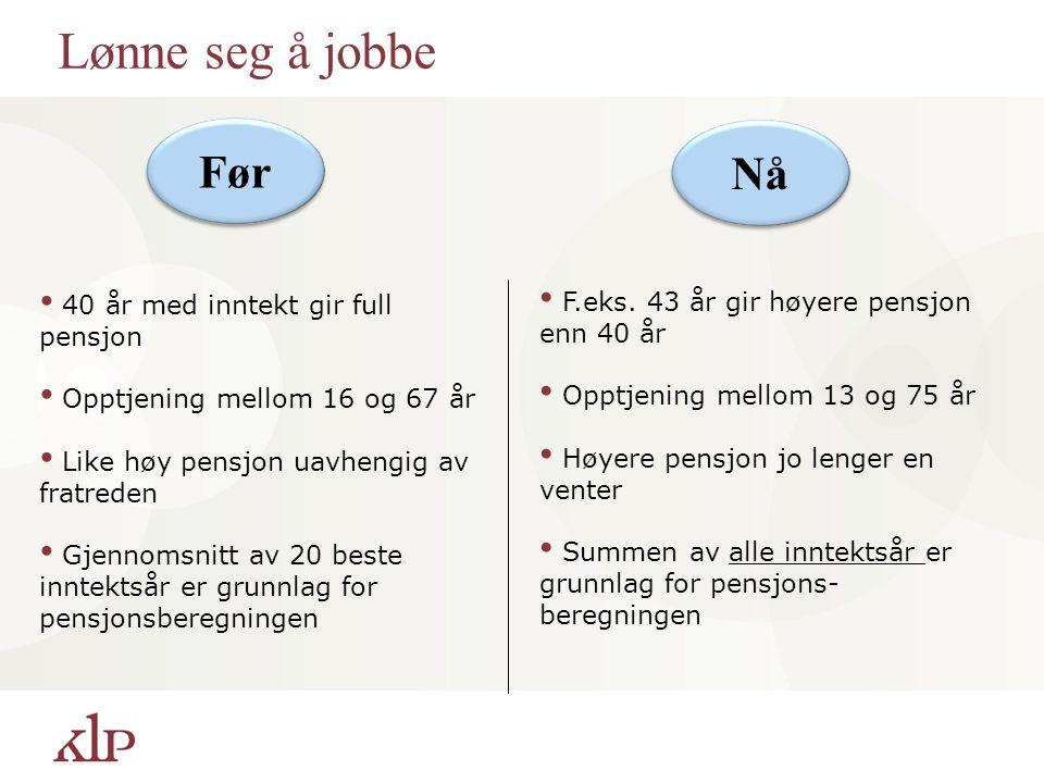 Lønne seg å jobbe 40 år med inntekt gir full pensjon Opptjening mellom 16 og 67 år Like høy pensjon uavhengig av fratreden Gjennomsnitt av 20 beste inntektsår er grunnlag for pensjonsberegningen Nå Før F.eks.