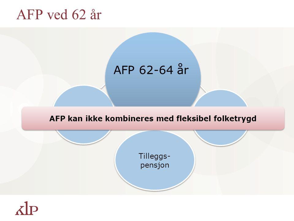 AFP ved 62 år Grunnpensjon AFP-tillegg Tilleggs- pensjon AFP 62-64 år AFP kan ikke kombineres med fleksibel folketrygd