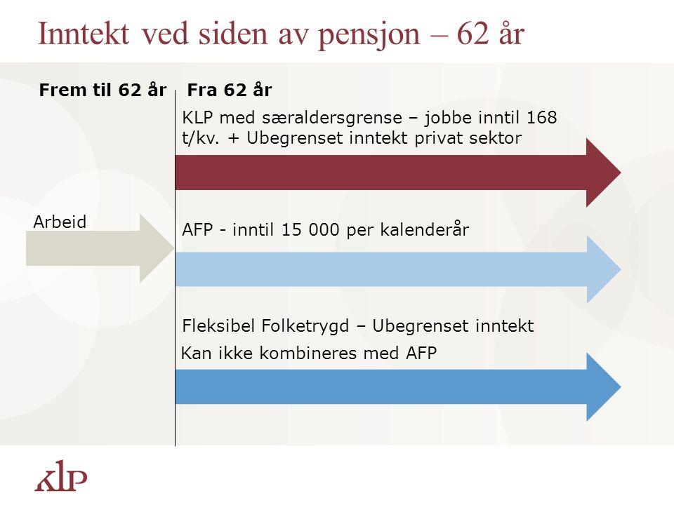 Inntekt ved siden av pensjon – 62 år Fra 62 år Frem til 62 år Arbeid KLP med særaldersgrense – jobbe inntil 168 t/kv.