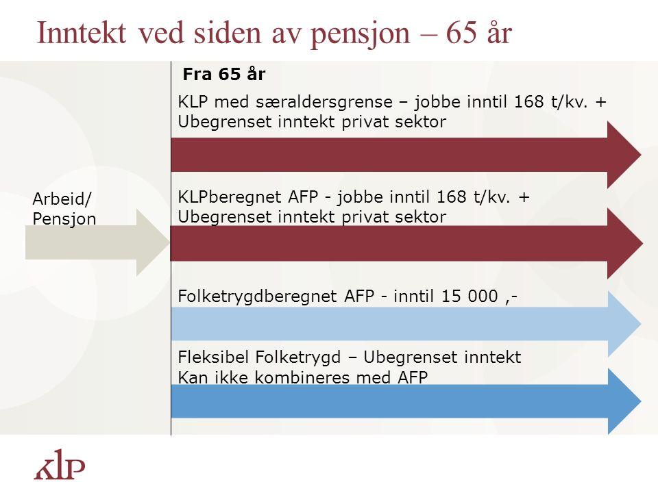 Inntekt ved siden av pensjon – 65 år Fra 65 år Arbeid/ Pensjon KLP med særaldersgrense – jobbe inntil 168 t/kv. + Ubegrenset inntekt privat sektor Fol