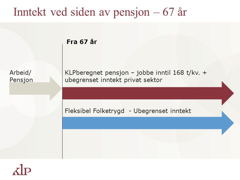 Inntekt ved siden av pensjon – 67 år Fra 67 år Arbeid/ Pensjon KLPberegnet pensjon – jobbe inntil 168 t/kv. + ubegrenset inntekt privat sektor Fleksib