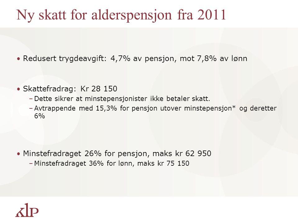 Ny skatt for alderspensjon fra 2011 Redusert trygdeavgift: 4,7% av pensjon, mot 7,8% av lønn Skattefradrag: Kr 28 150 –Dette sikrer at minstepensjonister ikke betaler skatt.