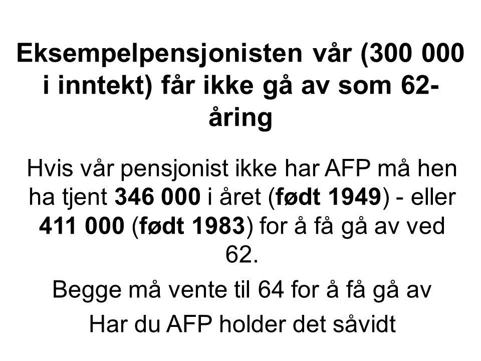 Eksempelpensjonisten vår (300 000 i inntekt) får ikke gå av som 62- åring Hvis vår pensjonist ikke har AFP må hen ha tjent 346 000 i året (født 1949) - eller 411 000 (født 1983) for å få gå av ved 62.
