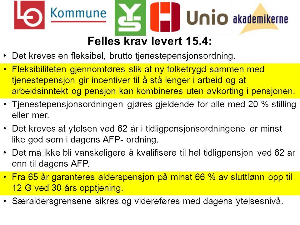 Felles krav levert 15.4: Det kreves en fleksibel, brutto tjenestepensjonsordning.