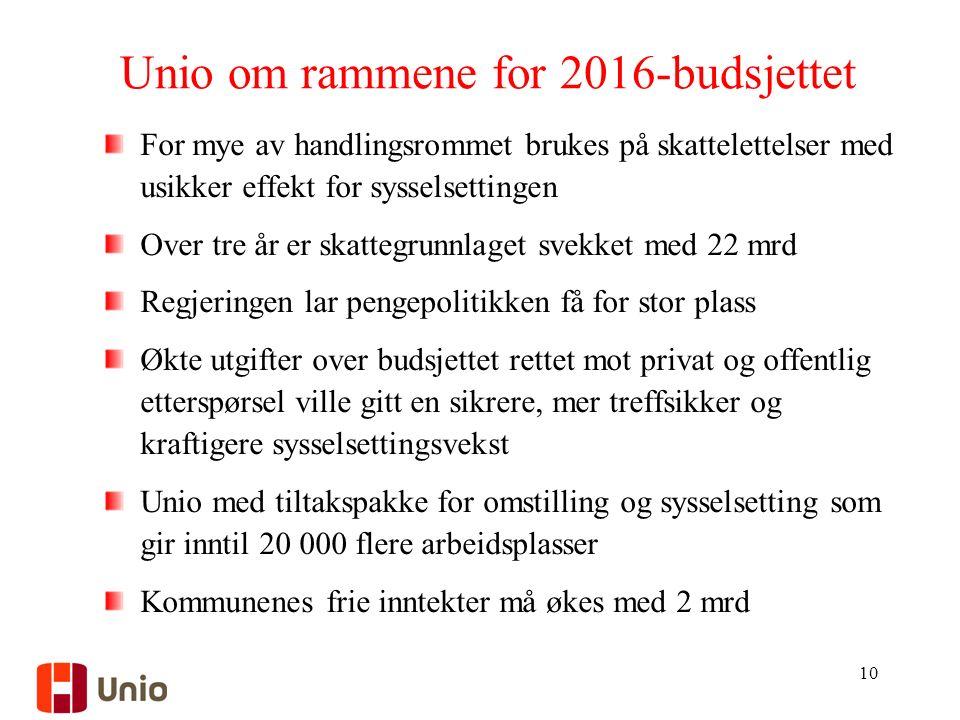 Unio om rammene for 2016-budsjettet For mye av handlingsrommet brukes på skattelettelser med usikker effekt for sysselsettingen Over tre år er skatteg