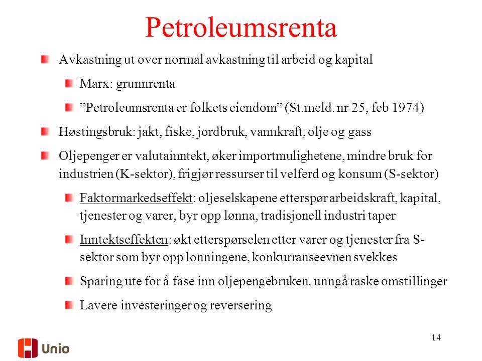 Petroleumsrenta Avkastning ut over normal avkastning til arbeid og kapital Marx: grunnrenta Petroleumsrenta er folkets eiendom (St.meld.
