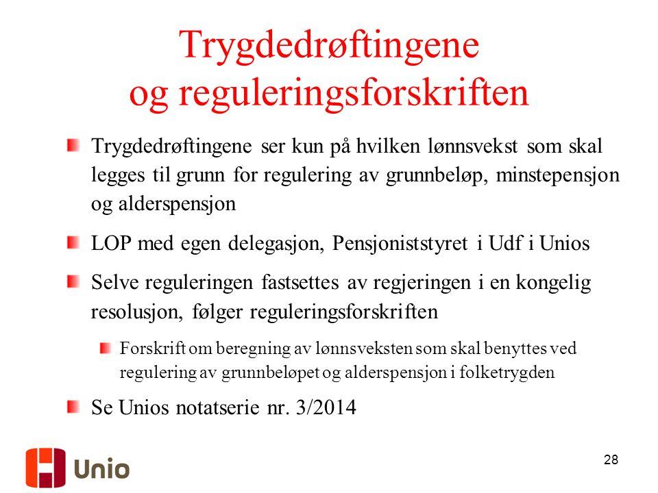 28 Trygdedrøftingene og reguleringsforskriften Trygdedrøftingene ser kun på hvilken lønnsvekst som skal legges til grunn for regulering av grunnbeløp, minstepensjon og alderspensjon LOP med egen delegasjon, Pensjoniststyret i Udf i Unios Selve reguleringen fastsettes av regjeringen i en kongelig resolusjon, følger reguleringsforskriften Forskrift om beregning av lønnsveksten som skal benyttes ved regulering av grunnbeløpet og alderspensjon i folketrygden Se Unios notatserie nr.
