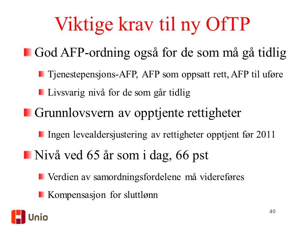 Viktige krav til ny OfTP 40 God AFP-ordning også for de som må gå tidlig Tjenestepensjons-AFP, AFP som oppsatt rett, AFP til uføre Livsvarig nivå for