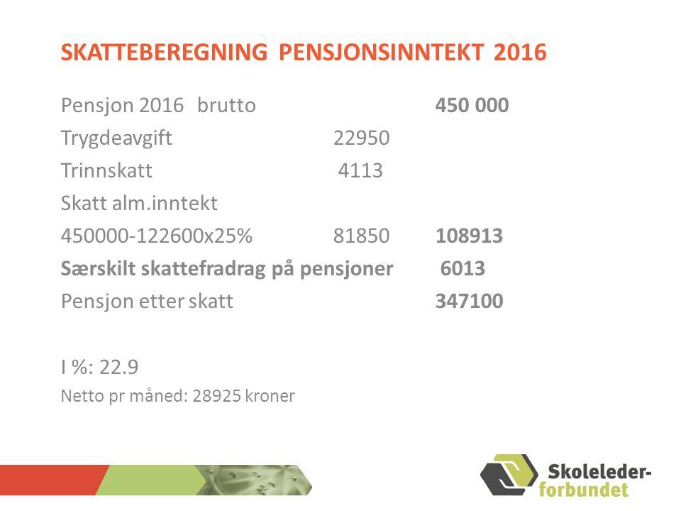 SKATTEBEREGNING PENSJONSINNTEKT 2016 Pensjon 2016brutto450 000 Trygdeavgift22950 Trinnskatt 4113 Skatt alm.inntekt 450000-122600x25%81850108913 Særski