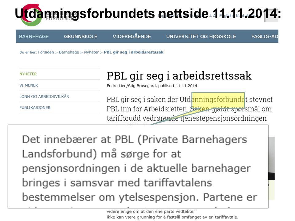 Utdanningsforbundets nettside 11.11.2014: