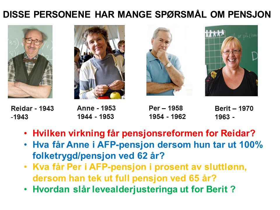 I det følgende skal jeg se på pensjonene til disse 4 personene ved ulike pensjonsvalg.