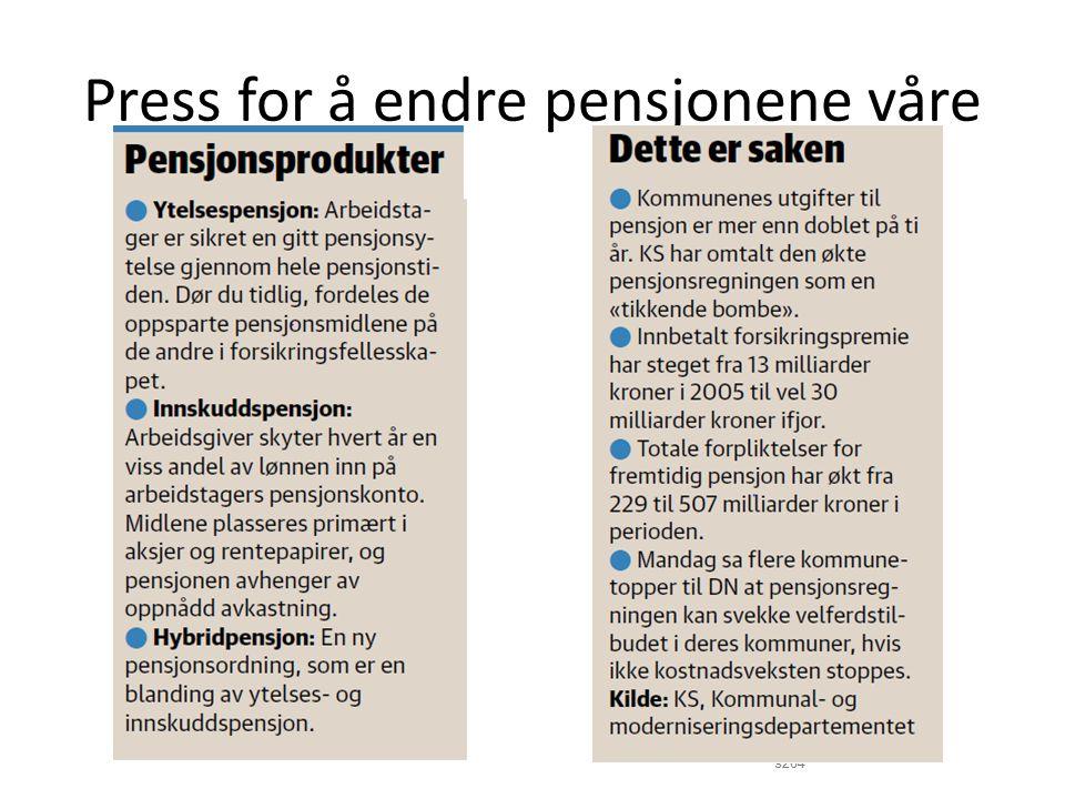 Ny regjering om pensjon: Regjeringserklæringen: «Fortsette gjennomføringen av pensjonsreformen i både privat og offentlig sektor.