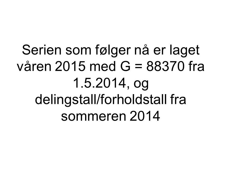 Serien som følger nå er laget våren 2015 med G = 88370 fra 1.5.2014, og delingstall/forholdstall fra sommeren 2014