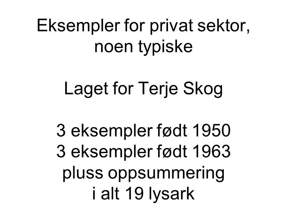 Eksempler for privat sektor, noen typiske Laget for Terje Skog 3 eksempler født 1950 3 eksempler født 1963 pluss oppsummering i alt 19 lysark