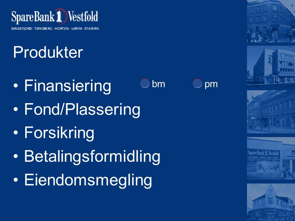 Produkter Finansiering Fond/Plassering Forsikring Betalingsformidling Eiendomsmegling bmpm