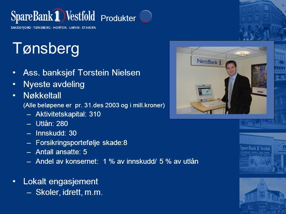 Tønsberg Ass. banksjef Torstein Nielsen Nyeste avdeling Nøkkeltall (Alle beløpene er pr. 31.des 2003 og i mill.kroner) –Aktivitetskapital: 310 –Utlån: