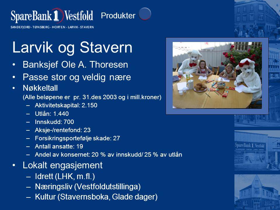 Larvik og Stavern Banksjef Ole A. Thoresen Passe stor og veldig nære Nøkkeltall (Alle beløpene er pr. 31.des 2003 og i mill.kroner) –Aktivitetskapital