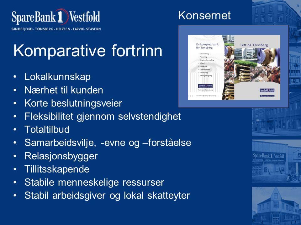 Komparative fortrinn Lokalkunnskap Nærhet til kunden Korte beslutningsveier Fleksibilitet gjennom selvstendighet Totaltilbud Samarbeidsvilje, -evne og