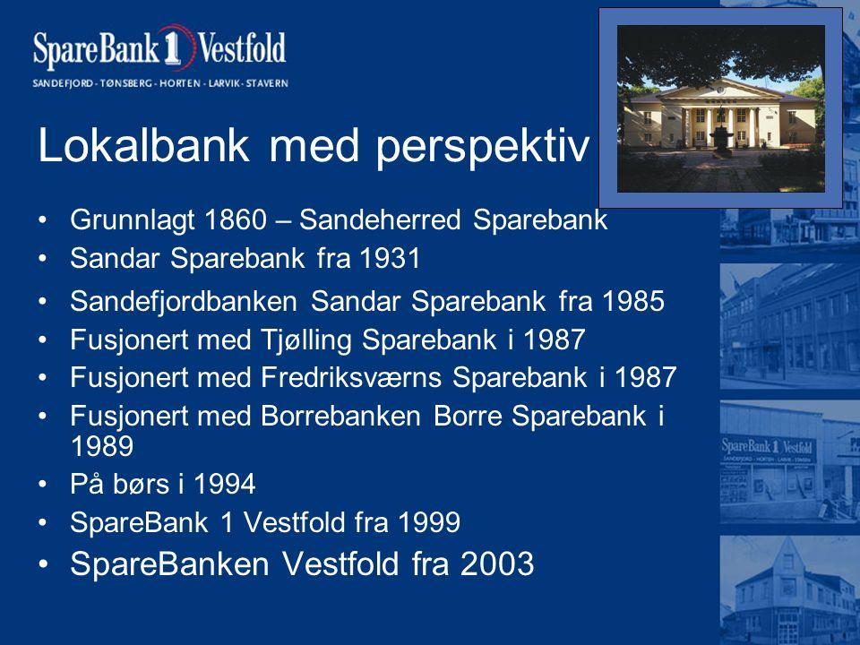 Lokalbank med perspektiv Grunnlagt 1860 – Sandeherred Sparebank Sandar Sparebank fra 1931 Sandefjordbanken Sandar Sparebank fra 1985 Fusjonert med Tjø