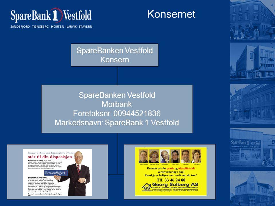 Konsernet SpareBanken Vestfold Konsern SpareBanken Vestfold Morbank Foretaksnr. 00944521836 Markedsnavn: SpareBank 1 Vestfold EiendomsMegleren Vestfol